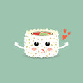Love cartoon roll, suchi. Cute japanese food. Royalty Free Stock Photo