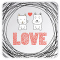Love cat and dog card in for everyone Stock Photos