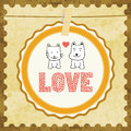 Love cat and dog card in for everyone Royalty Free Stock Photography