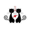 Love Cat Silhouette Stock Photography