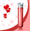Love chemistry with test tube and heart symbols Stock Images
