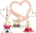 Love chemistry vector illustration drawing of a distillation set with the condenser shaped like a heart file type eps ai Stock Image