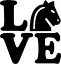 Love with chess horse. Royalty Free Stock Photo