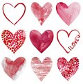 Love clipart, nine hand-drawn watercolor hearts isolated on white background