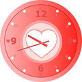 Love Clock with heart shaped in dial plate.  Stock Photos