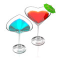 Love cocktails-blue & red Royalty Free Stock Photo