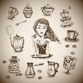 The love of coffee scene with girl vector illustration Stock Photos