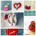 Love collage of cute romantic photos Stock Image