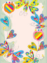 Love colorful butterflies illustration of design with flowers stripe frame Royalty Free Stock Images