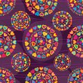 Love colorful glitter symmetry purple seamless patterm Royalty Free Stock Photo
