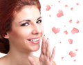 Love concept beauty young woman with valentine hearts valentines day Royalty Free Stock Images