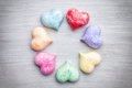 Love concept. Colorful hearts on grey background Royalty Free Stock Photo