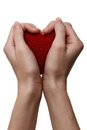 Love concept. holding a red heart in hands Stock Photography