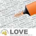 Love concept illustration graphic tag collection wordcloud collage Stock Image