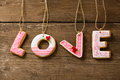 Love cookies on rope Royalty Free Stock Photo