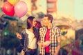 Love Couple In Amusement Park ...