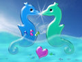 Love couple family two colorful seahorses kissing provoking a light flash the male is carrying three baby seahorses in his Royalty Free Stock Image