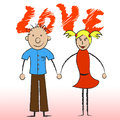 Love couple indicates compassionate devotion and fondness showing affection boyfriend Royalty Free Stock Photos