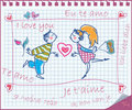 Love couple painted on the exercise book. Vector Stock Photography