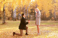 Love couple relationship and engagement concept couple kneeled men proposing to a women in the autumn park Stock Images