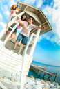 Love couple standing on tower Royalty Free Stock Image