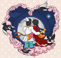 In Love Couple Staring at the Starry Night in Qixi Festival, Vector Illustration Royalty Free Stock Photo