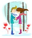 Love couple in winter forest