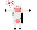 Love the cow spotted with hearts on a white background Royalty Free Stock Photography