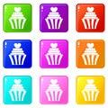 Love cupcake icons 9 set