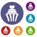 Love cupcake icons set