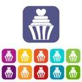 Love cupcake icons set flat