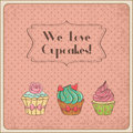We love cupcakes vintage card Stock Image