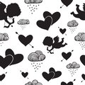 Love cupids hearts arrows and clouds seamless pattern vector illustration Stock Photo