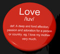 Love Definition Button Showing Affection Royalty Free Stock Images