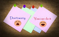 Love don t worry words on paper and smile face Royalty Free Stock Photography