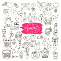Love doodle icons sef of vector illustration isolated Royalty Free Stock Images