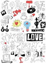 Love doodle set background and texture Royalty Free Stock Photography