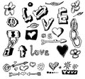 Love doodles hand drawn design elements Royalty Free Stock Photo