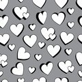Love double love black and white 3d seamless pattern