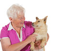Love between an elderly woman and her dog Stock Photography