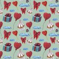 Love elements pattern. Love and sweets template design. Watercolor pattern whit cupcake, red heart lolipop, heart shaped