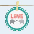 Love elephants card for everyone Stock Images
