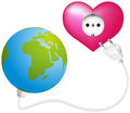Love energy globe that gets power and from a heart shaped socket isolated vector on white background Stock Image