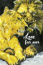 love for ever lions oil paints card Royalty Free Stock Photo
