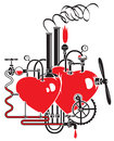 Love factory two hearts connected by different mechanisms and pipes Royalty Free Stock Photography