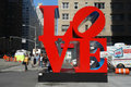 Love the famous sculpture by robert indiana in midtown manhattan Royalty Free Stock Photography