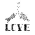 Love fish with with calligraphic inscription, kiss fish, love hand drawing Royalty Free Stock Photo