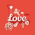Love flat design background red and white about Royalty Free Stock Photography