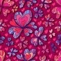 Love flower decor seamless pattern