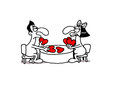 Love gamble vectorel conceptual humorous cartoon about valentines day and Stock Photo